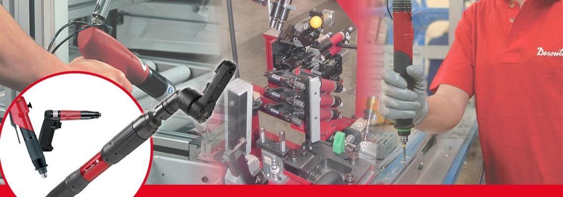 Firma Desoutter Narzędzia Przemysłowe stworzyła cały asortyment pneumatycznych narzędzi do mocowania, w tym śrubokręty pistoletowe bez odcięcia przeznaczone do precyzyjnych prac.